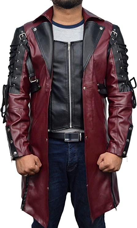 Dizller Steampunk Mens Maroon /& Black Sheep Leather Coat Style Jacket