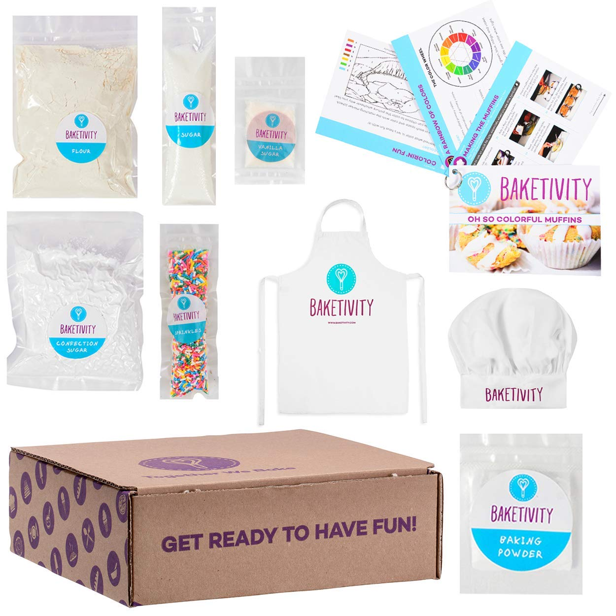 Baketivity Kids Baking Set, Meal Cooking Party Supply Kit for Teens, Real Fun Little Junior Chef Essential Kitchen Lessons, Includes Pre-Measured Ingredients Funfetti Muffins with Hat and Apron