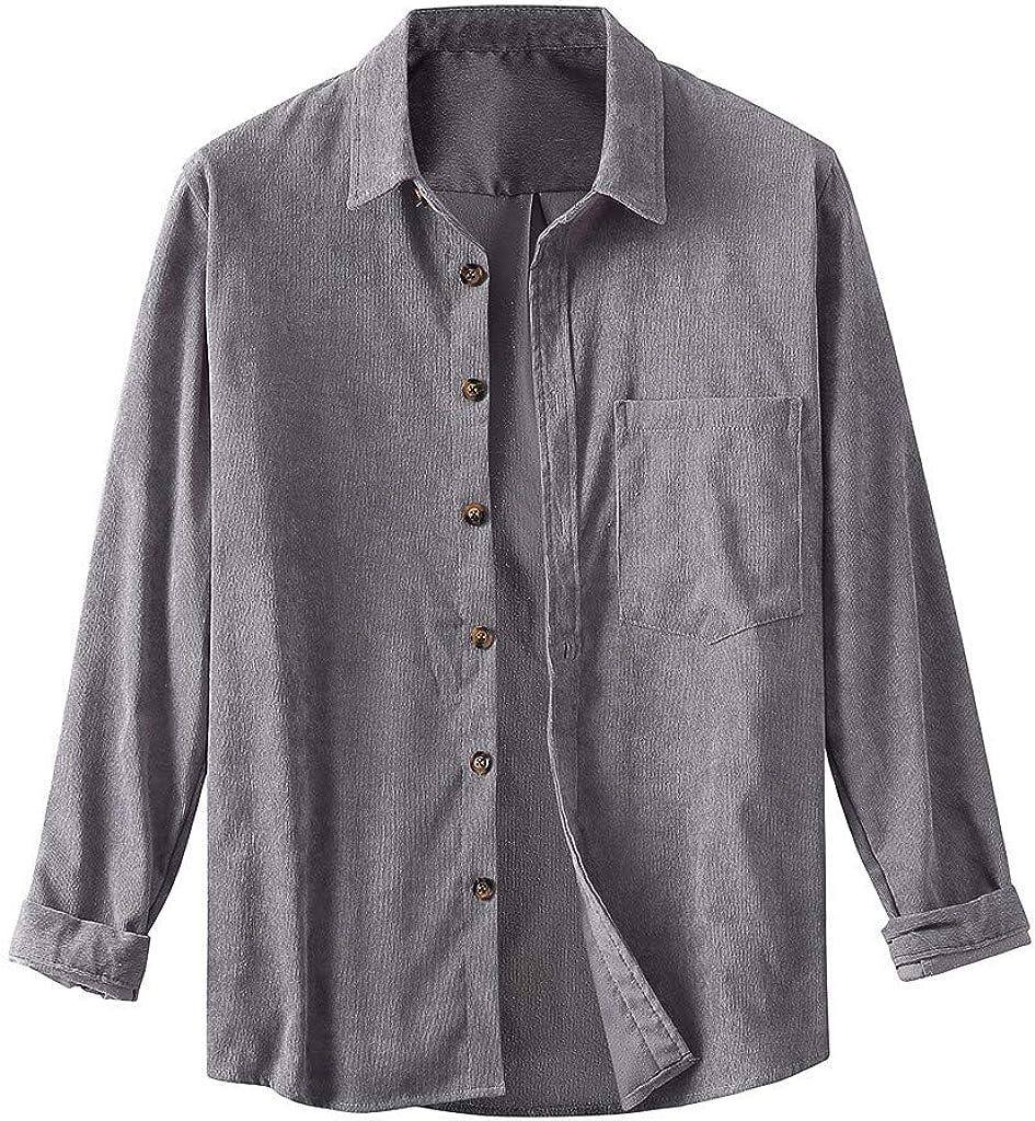 Camisa de Pana de Manga Larga Slim-Fit para Hombre Larga Salvaje de Los Hombres Grandes Camisas Moda: Amazon.es: Ropa y accesorios