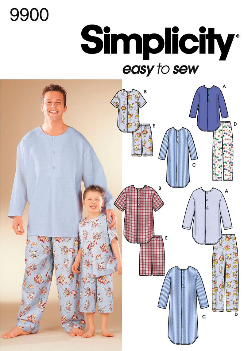 Simplicity Sewing Pattern 9900 Boys and Men Loungewear, A (S-M-L/S-M-L-XL) by Simplicity Creative Group, Inc   B002PSK5HI