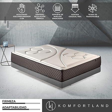 Komfortland Colchón de muelles ensacados Memory Vex Spring con 5 cm de ViscoProgression Grafeno, Altura 27 cm, de 90x190 cm: Amazon.es: Hogar