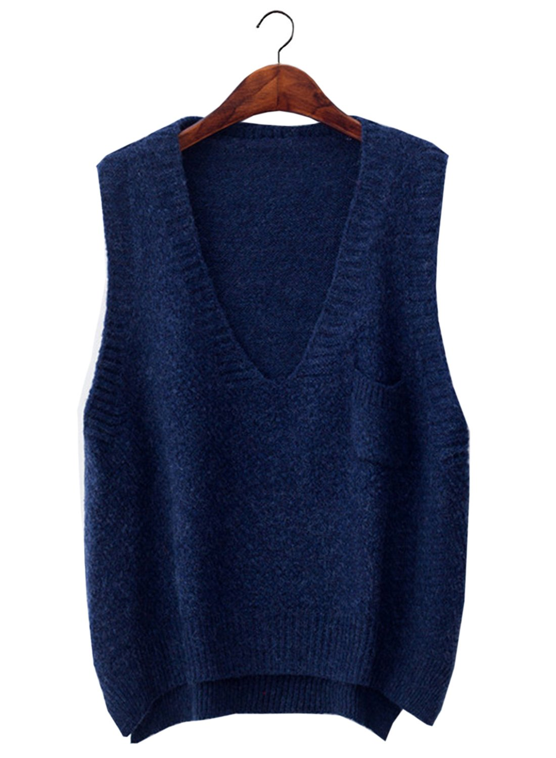 Futurino Women's Boxy Solid Color Low V Neck Marled Knitted Sweater Vest Tops