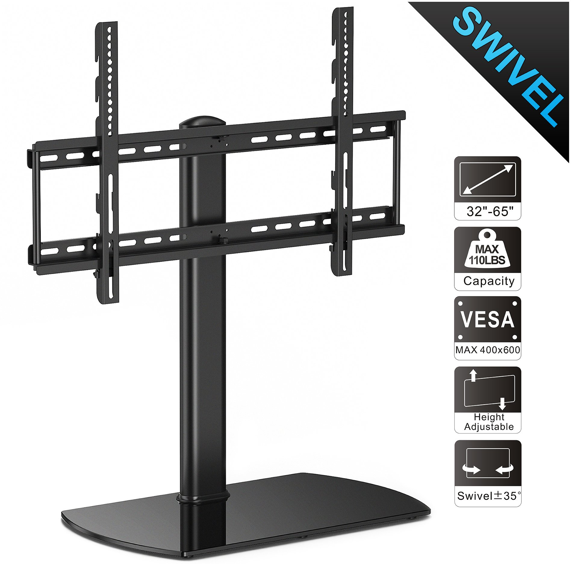 Fitueyes Universal TV Stand /Base Swivel Tabletop TV Stand with Mount for 32 to 65 inch Flat screen Tvs/xbox One/tv Component /Vizio Tv TT107002GB