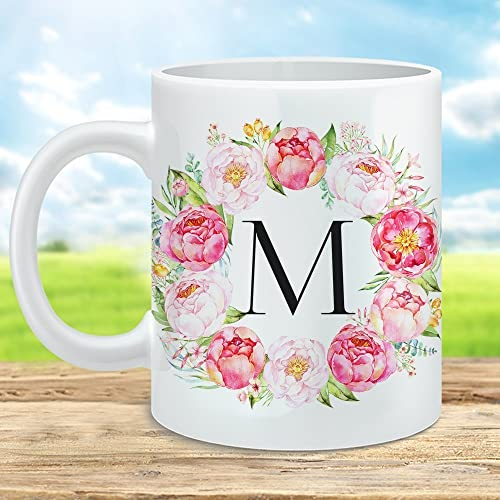 Letter Mug Monogram Mug Floral Monogram Mug Initial Mug Monogram Coffee Mug