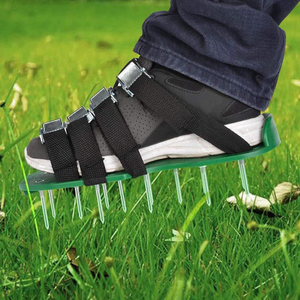 Rasenbel/üfter Nagelschuhe mit 5cm N/ägel f/ür Garten Hof TIMESETL Rasenbel/üftungsschuhe Rasenl/üfter Schuhe mit 4 Verstellbare Gurte Gr/ün
