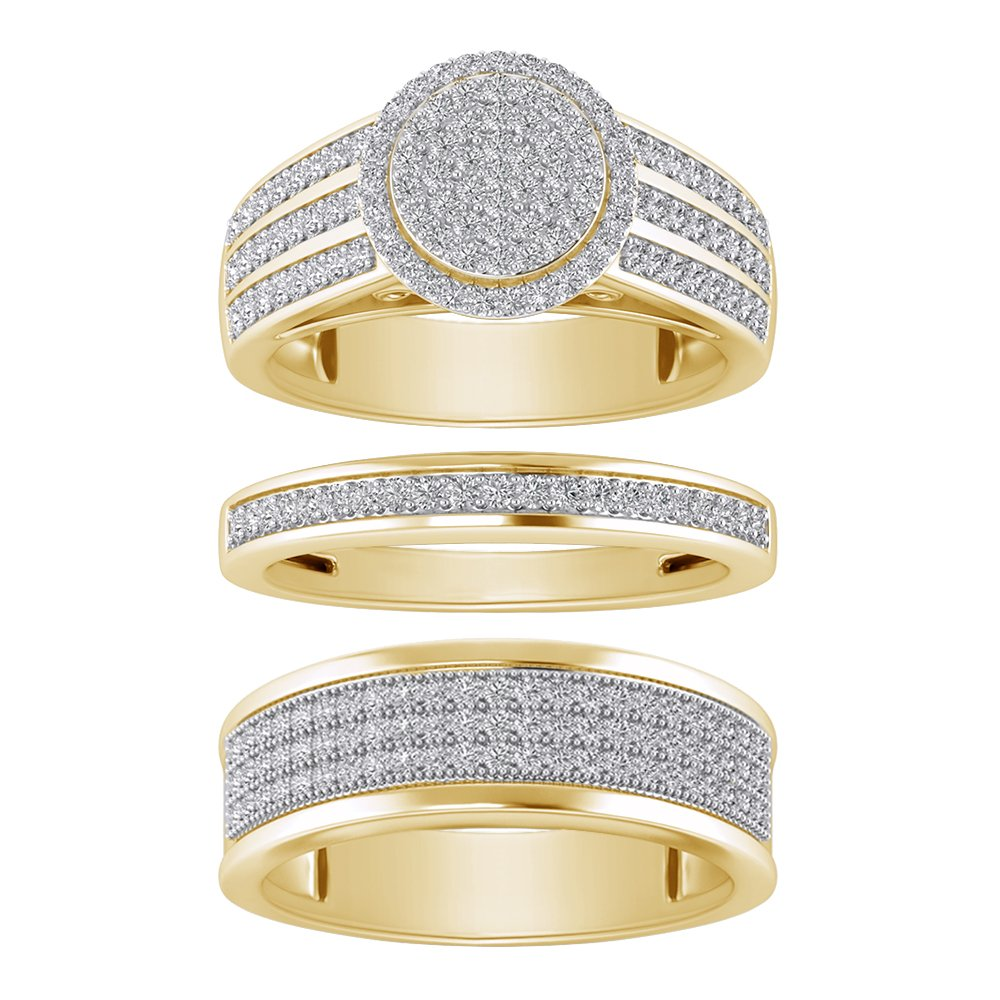 Sterling Silver 925 Yellow Plated Round Cut White Cubic Zirconia Cluster His & Her Wedding Trio Ring Set
