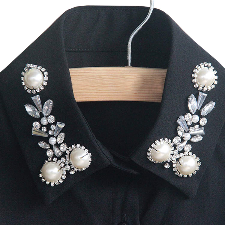 D, White Katesid Women Detachable Fake Collar Dickey Pearl False Collar Half Shirt