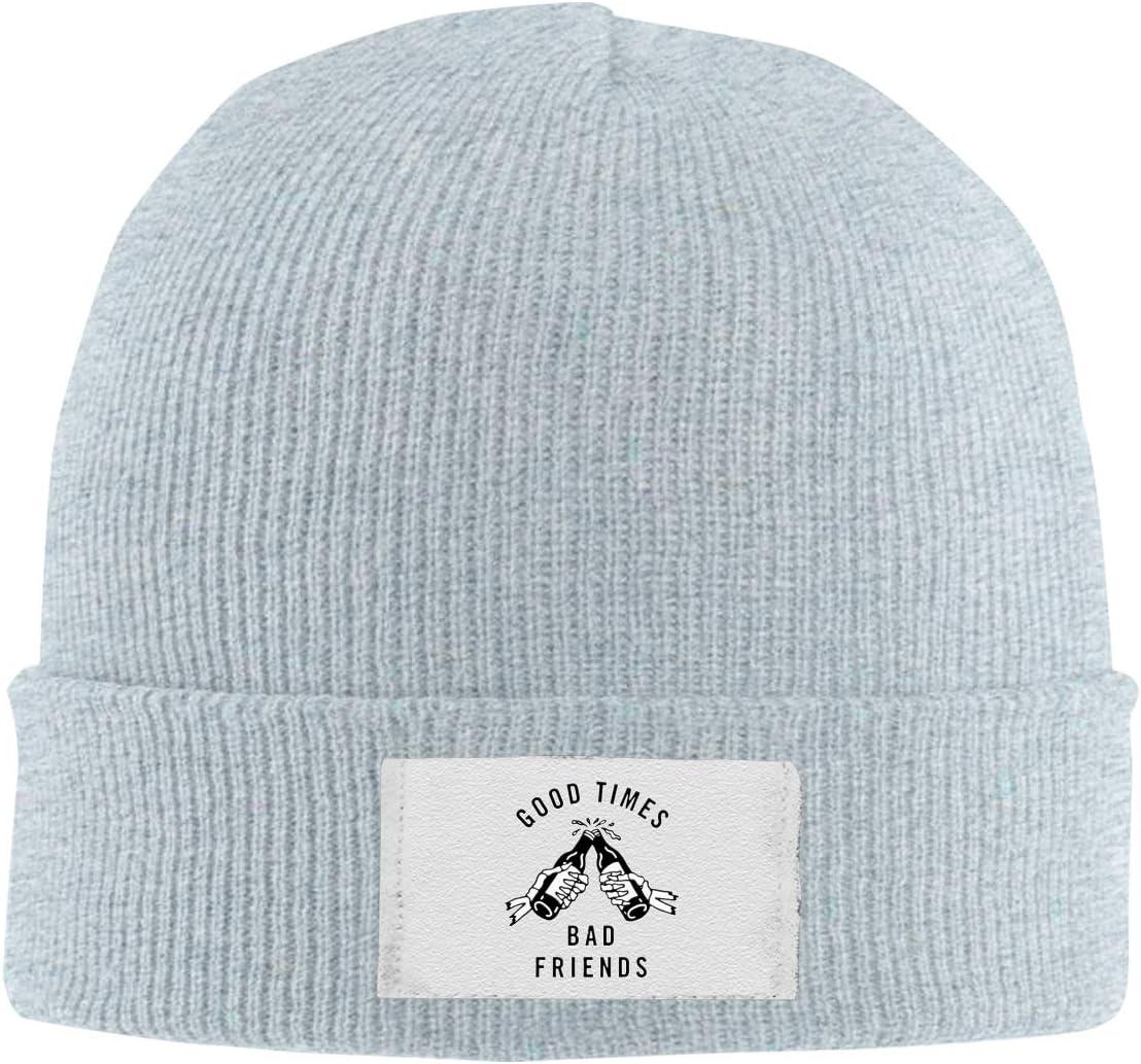 Dunpaiaa Skull Caps Good Times Bad Friends Winter Warm Knit Hats Stretchy Cuff Beanie Hat Black