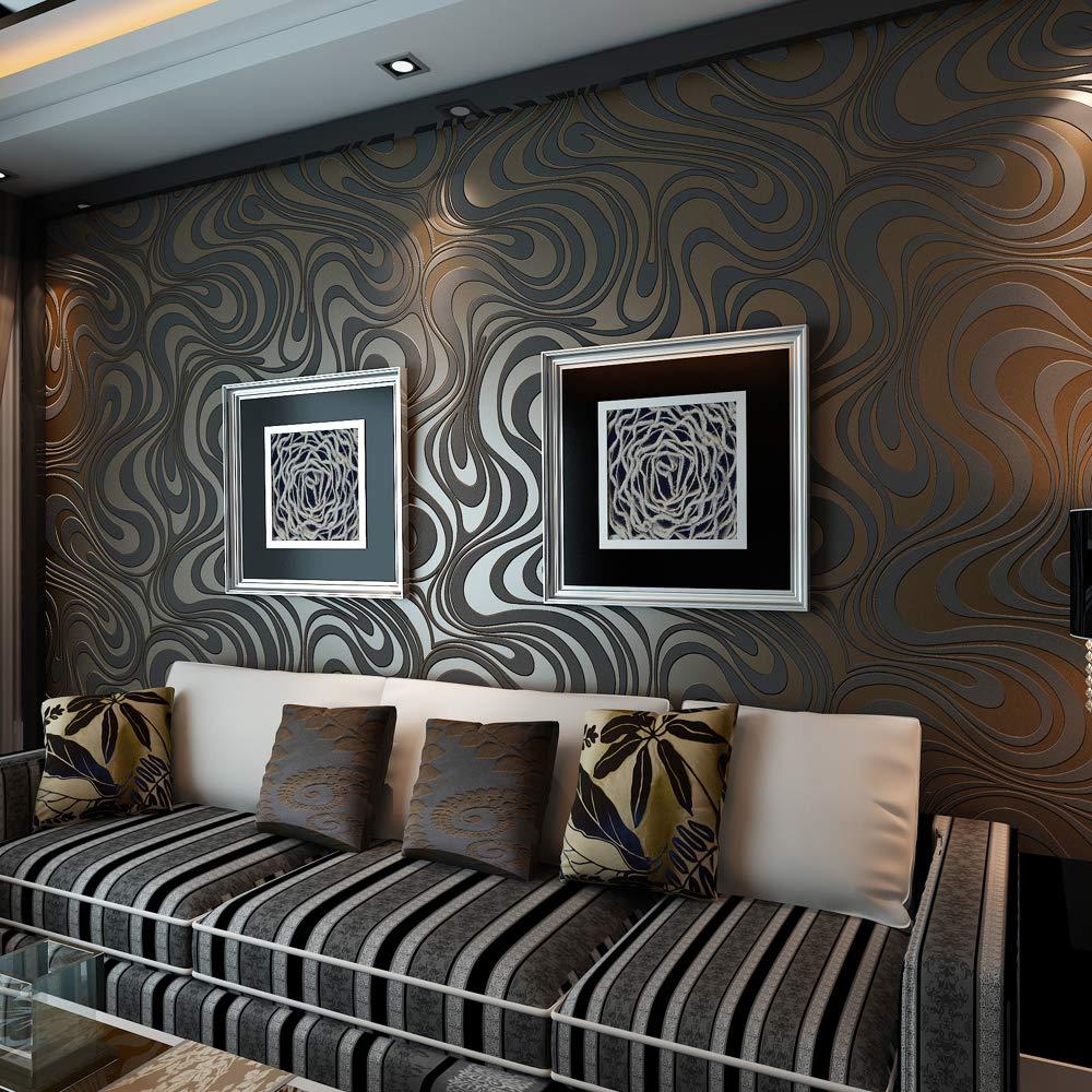 QIHANG Modern Abstract Curve 3D Wallpaper Roll Mural Papel De Parede Flocking for Striped Black&Brown Color Qh-Wallpaper 0.7m x 8.4m=5.88㎡