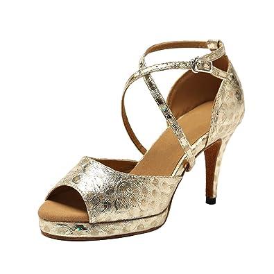 d10477c37ee Minishion GL225 Women s Platform Gold Synthetic Latin Tango Ballroom Dance  Shoes Wedding Prom Sandals 4 M