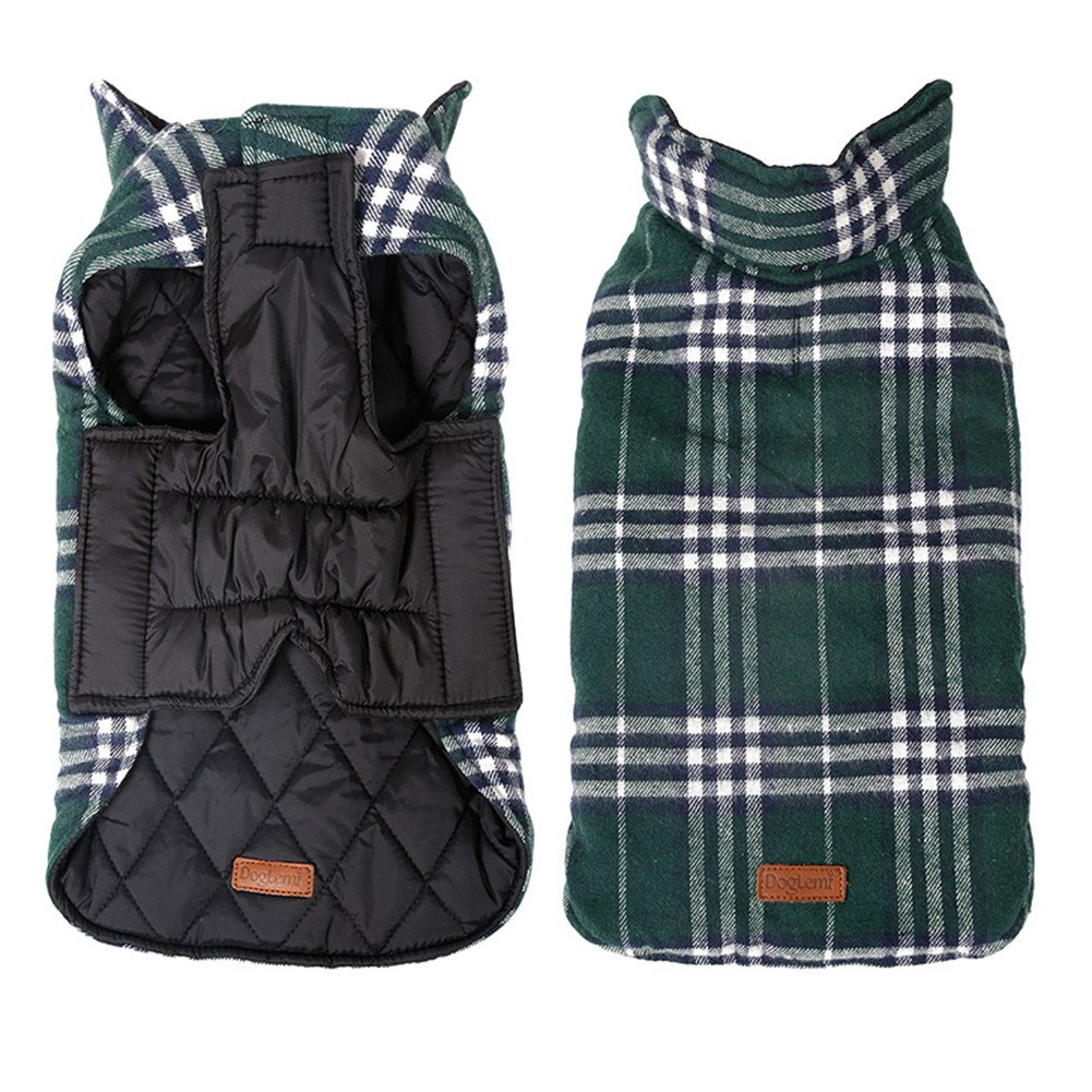 Kimfoxes Pet Dog Jacket Vest Windproof Garment Waterproof Snowproof Clothing Waistcoat Winter Warm Clothes Reversible British Style Grid Plaid Dog Coat for Medium Large Dogs(Green L)
