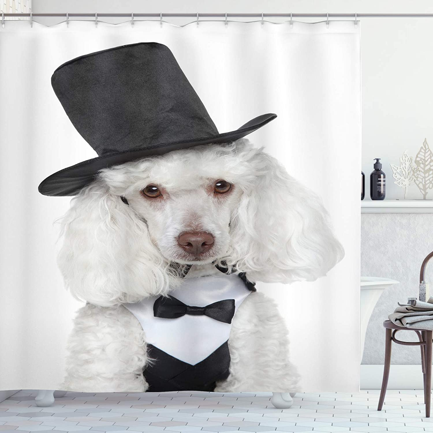 Abakuhaus Dogs Shower Curtain Sad Looking Furry Portrait In A Waistcoat And Hat Animal Theme Cloth Fabric Bathroom Decor Set With Hooks 78 Inches Dark Grey White Amazon Co Uk Kitchen Home