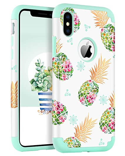 official photos 4ccb9 f30b8 BENTOBEN Phone Case for iPhone Xs 2018 / iPhone X / 10, Pineapple Girl  Women Phone Case Dual Layer Heavy Duty Rugged Bumper Protective Hybrid ...