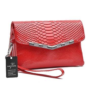 sakutane mujeres embrague grano de piel de cocodrilo de piel auténtica Real funda tipo cartera bolso de mano para fiestas, Red (Rojo) - HBBB0004- Red: ...