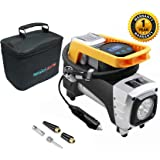 amiciAuto Double Cylinder Heavy Duty Air Pump Digital Inflator 12V 150 PSI for Car Truck Bicycle and Other Inflatables with Inflator Bag (Inflator)