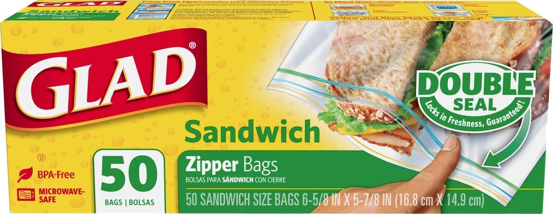 Glad Zipper Bags, Sandwich 50 bags
