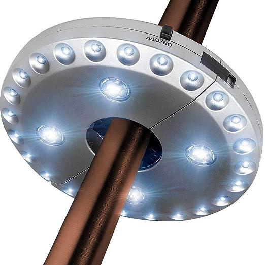 iHOMIKI Paraguas de la luz 3 Modos de iluminaci/ón inal/ámbrico 28 Luces LED Paraguas Light Pole para Patio Paraguas Tiendas de campa/ña al Aire Libre Uso con Pilas Negro