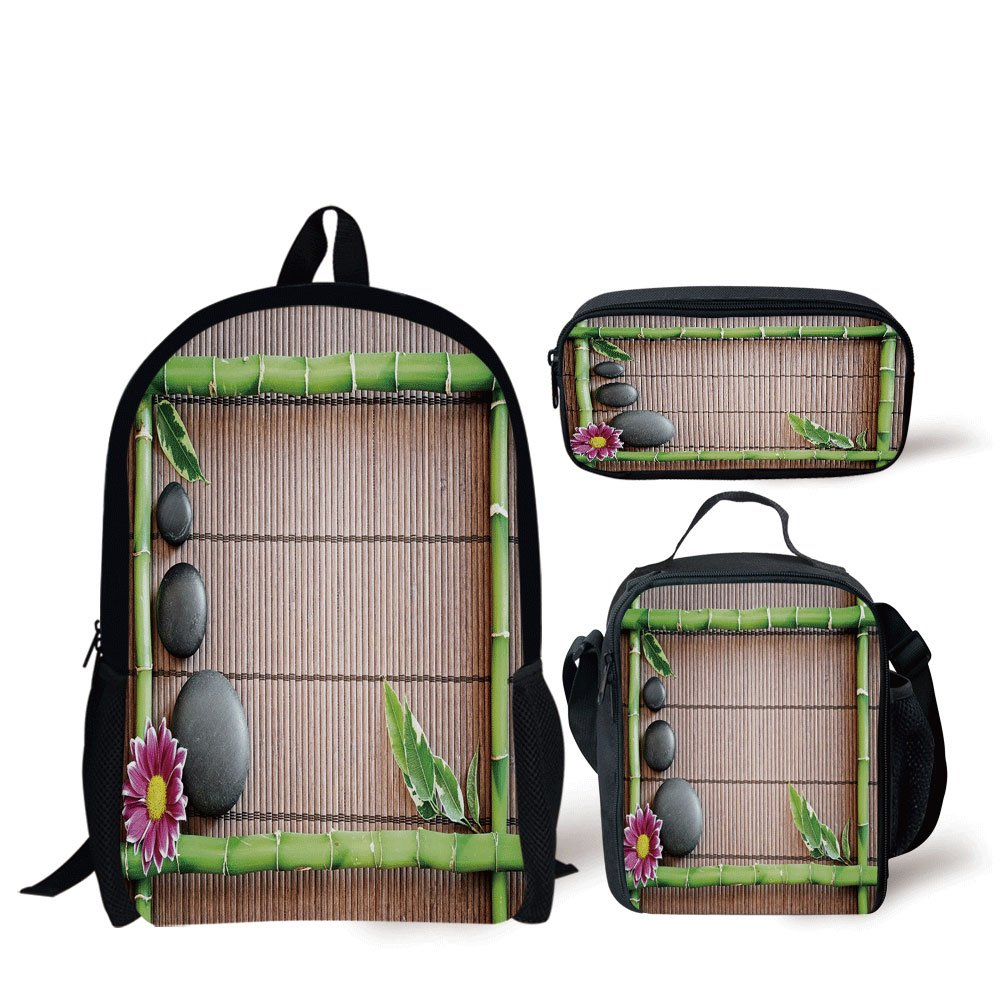 iPrint School Lunch Pen Bags,Meditation,Spa Frame with Spiritual Stones Bamboo Stems Orchid Petals Yoga Zen Philosophy,Multicolor,3 Piece Set
