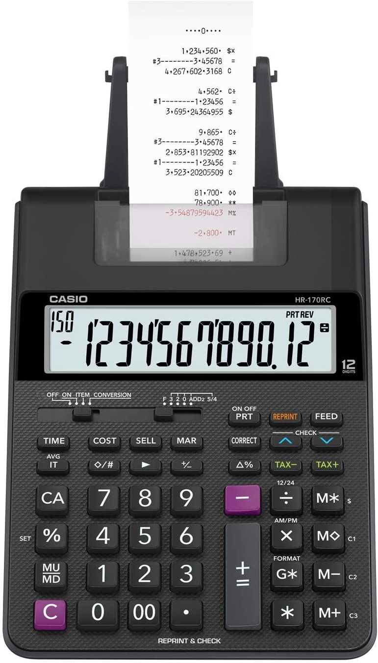 Casio HR-170RC Mini Desktop Printing Calculator, Small