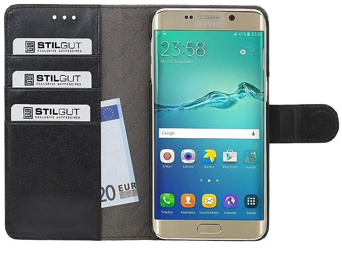 StilGut Talis, Tasche Hülle mit Kreditkartenfach für Samsung Galaxy S6 Edge+, Schwarz