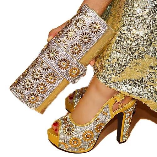 Amazon.com: Zapatillas y Bolso de Oro con Bolso a juego ...