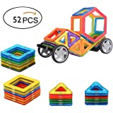 Camkey Magnet Construction Toys, Magnetic Building Tiles Blocks Stack Set Educational Stacking Toys, Standard Set with Wheels - 52 Pieces