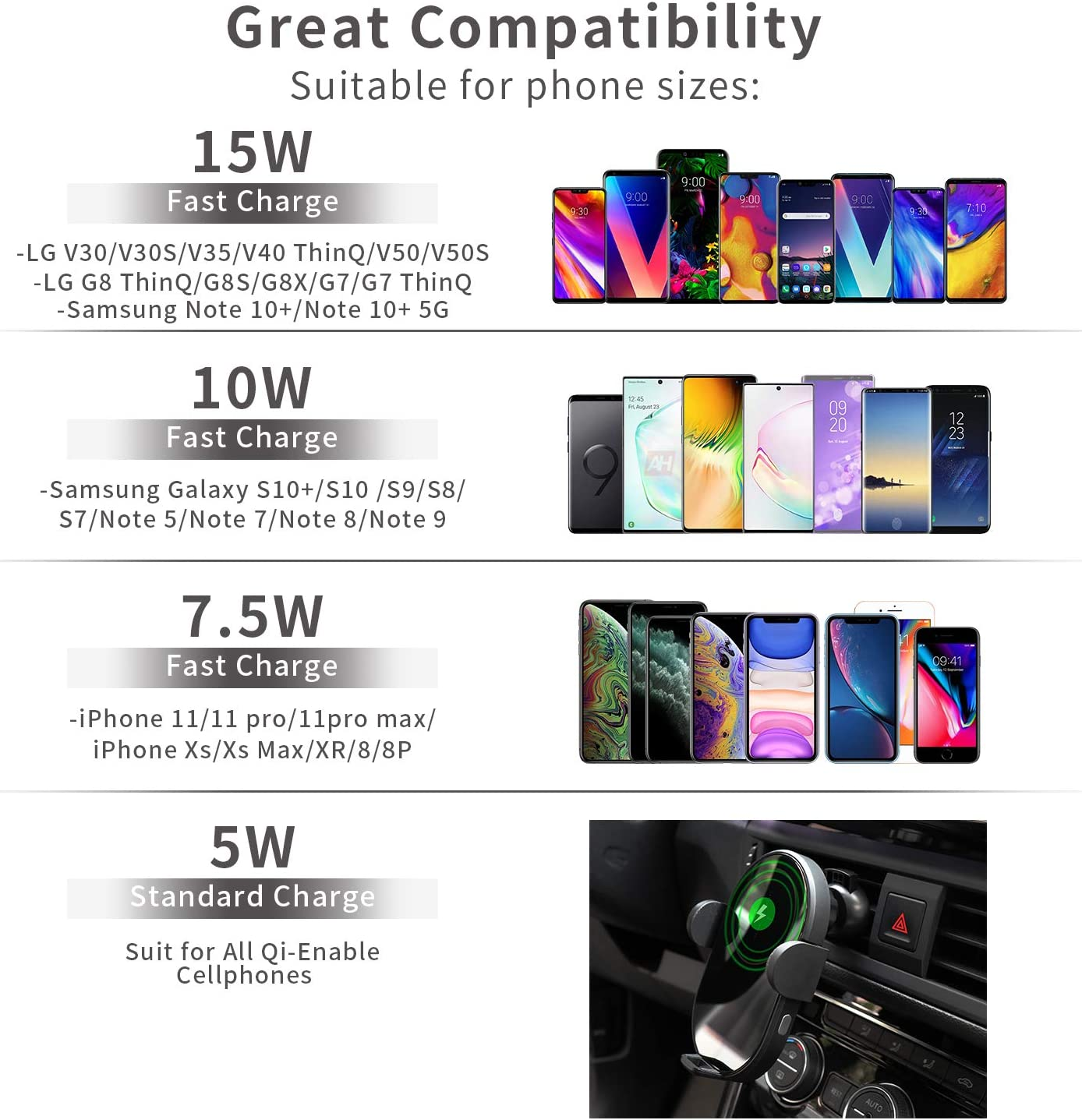 Samsung S10//S10+//S9//S9+//S8//S8+ LIEBMAYA Wireless Car Charger,15W Qi Fast Charging Car Mount Charger Auto-Clamping Windshield Dash Air Vent Phone Holder Compatible with iPhone 11Pro//Max//XR//11//X//8