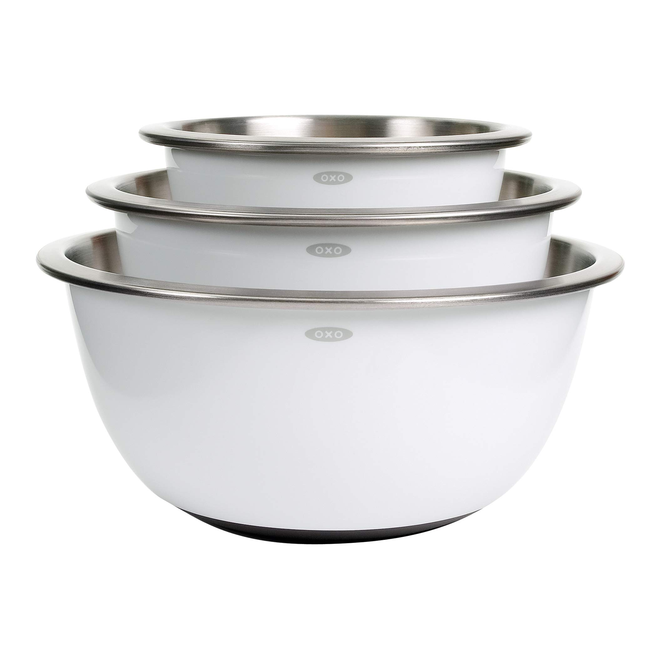 OXO 1107600 Good Grips 3-Piece Stainless-Steel Mixing Bowl Set, White by OXO