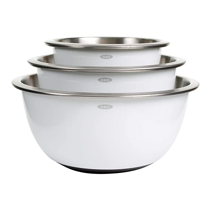 OXO 1107600 Good Grips 3-Piece Stainless-Steel Mixing Bowl Set White