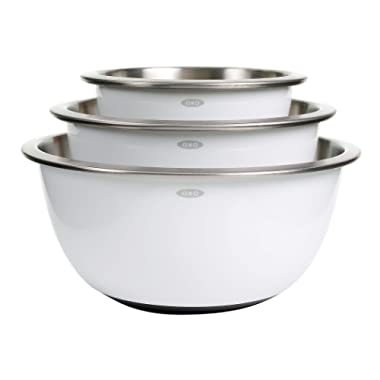 OXO 1107600 Good Grips 3-Piece Stainless-Steel Mixing Bowl Set, White