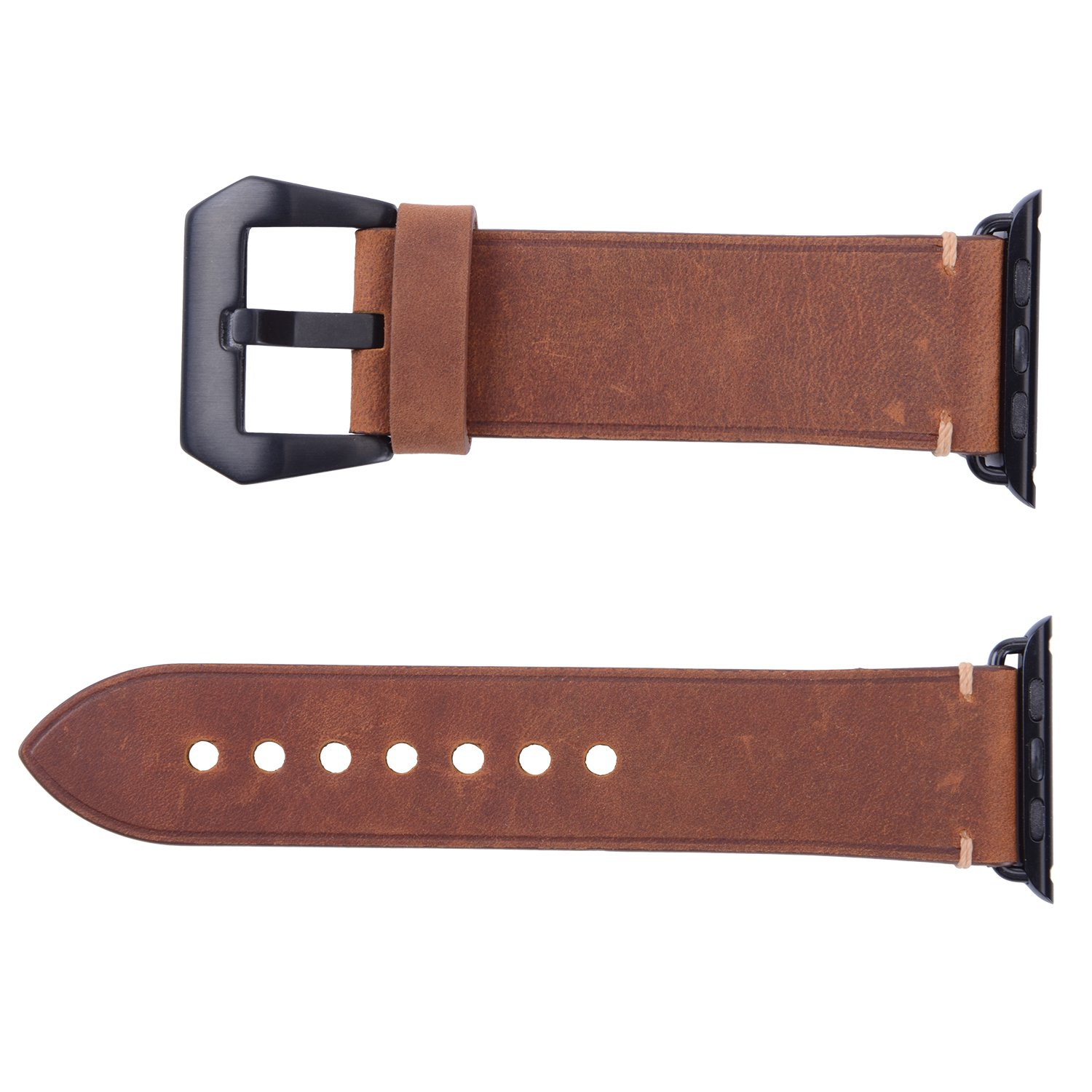 For 42mm Apple Watch Band, Genuine Leather iWatch Strap with Black Metal Clasp Buckle for Apple Watch Series 3 Series 2 Series 1 Sport Edition (42mm Dark Brown) by AMMZO (Image #3)