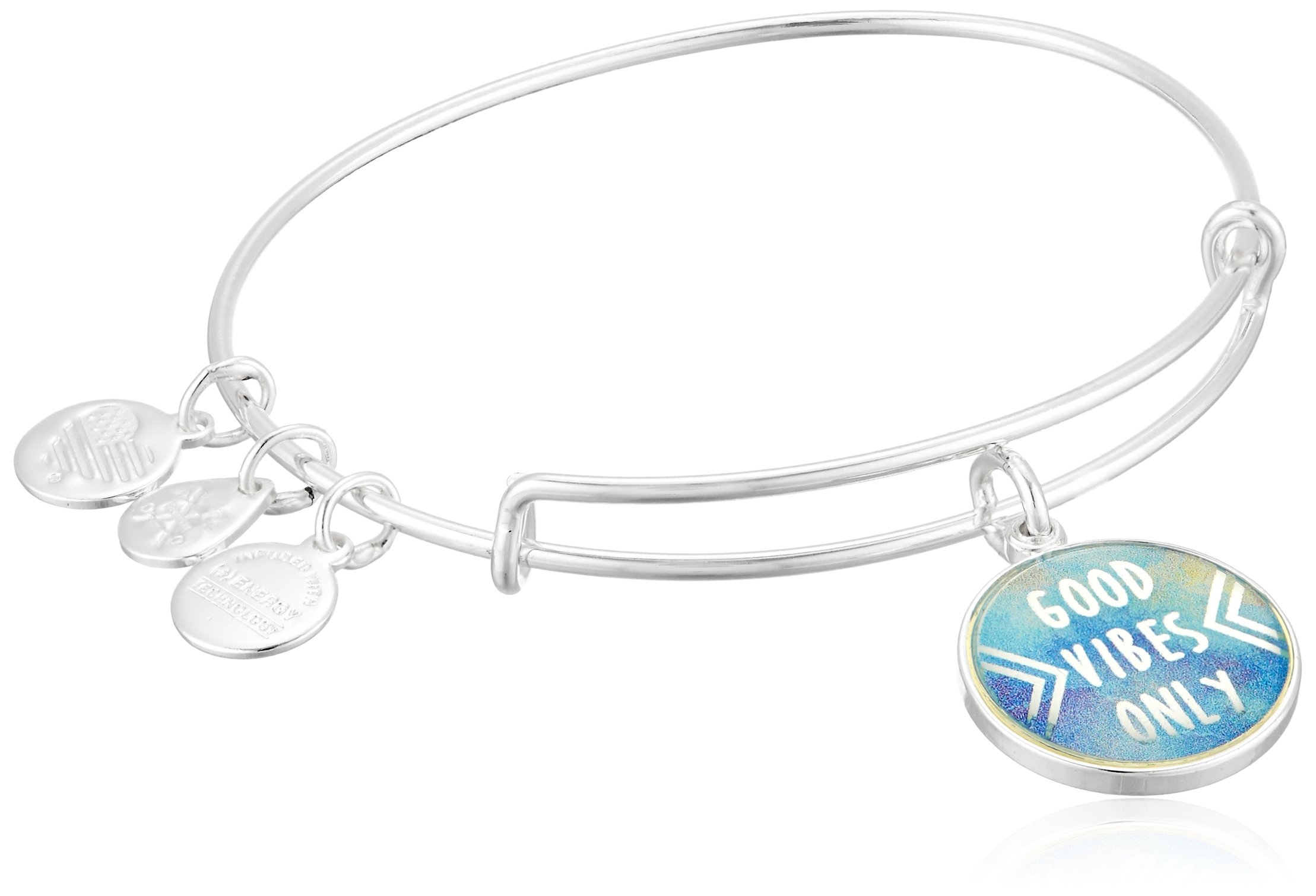 Alex and Ani Words are Powerful, Good Vibes Only EWB Shiny Silver Bangle Bracelet