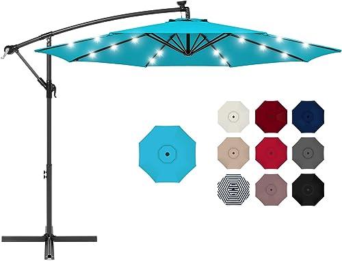 Choice Products 10ft Solar LED Offset Hanging Market Patio Umbrella