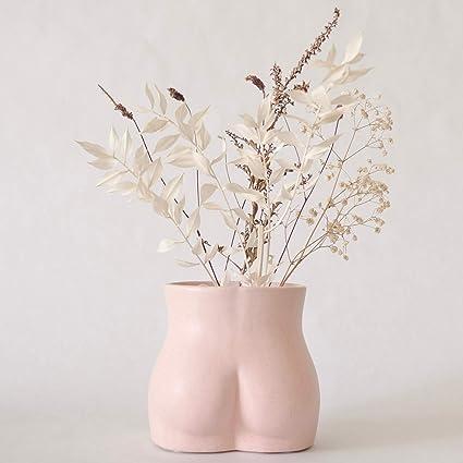 Maygone Modern White Ceramic Female Bottom Vase Women Handicraft Flowers Vases For Living Room Bedroom Home Decorations