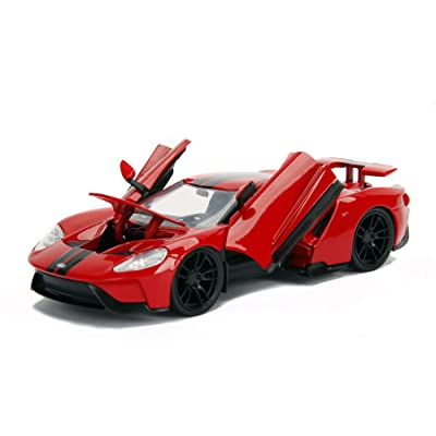 2017 Ford GT Red with Black Stripes 1/24 Diecast Model Car by Jada 99391