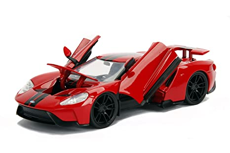 Ford Gt Red With Black Stripes  Cast Model Car By Jada