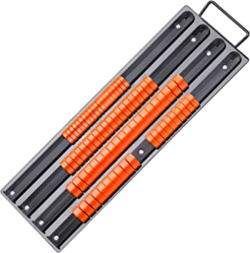 3//8-Inch HORUSDY 3-Piece Handle Steel Socket Holders 1//2-Inch 1//4-Inch Premium Quality Socket Organizer