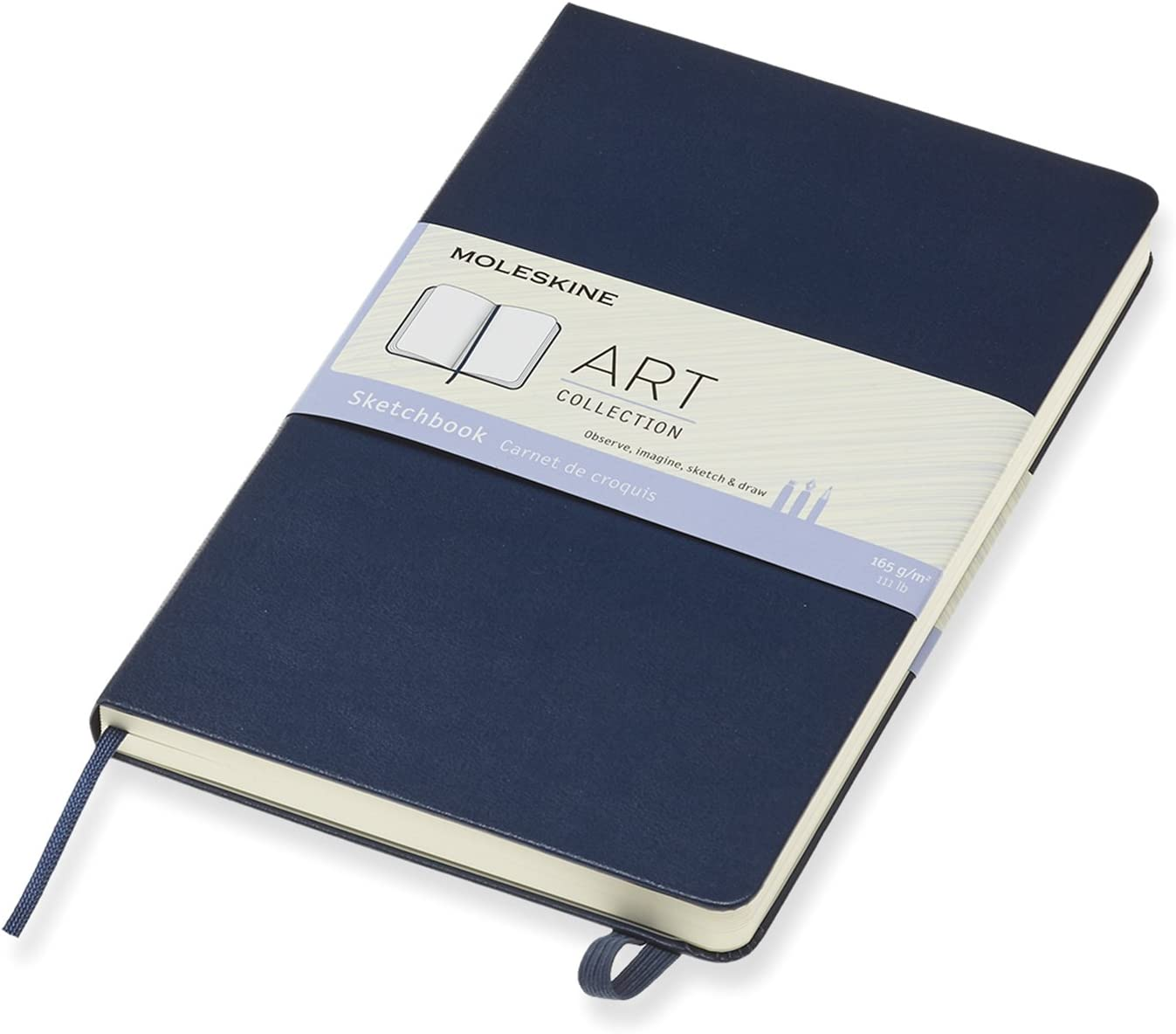 Hard Cover Sapphire Blue Large 5 x 8.25 Moleskine Art Sketchbook Plain//Blank