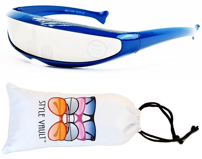 8c085b7d1ec3 V160-vp Style Vault Robot Space Party Sunglasses (B1655F Blue-Silver Mirror,