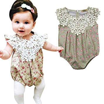 cba0b71fe88d Amazon.com   Baby Girls Floral Lace Romper