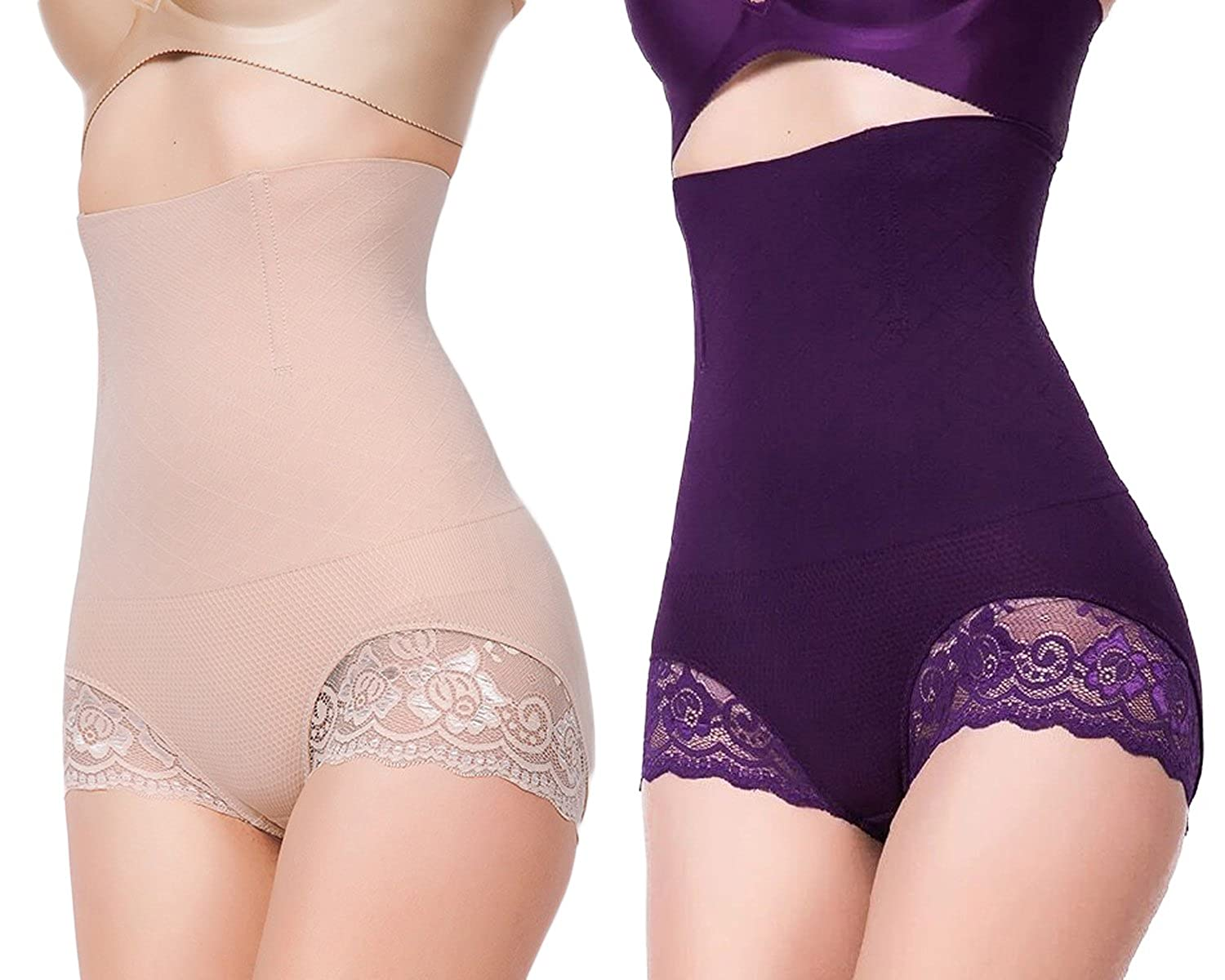 Beige+purple YaShaer 2 Pack Invisible Strapless Body Shaper Shapewear High Waist Tummy Control Butt Lifter Panty Slim