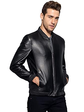 Men's Short Leather Jacket Slim Baseball Clothing Sheep Leather ...