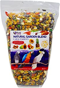 Birds LOVE All Natural Garden Blend Bird Food for All Sized Parrots, Macaws, Cockatoos, Quakers, Conures, Cockatiels, Parakeets, Lovebirds