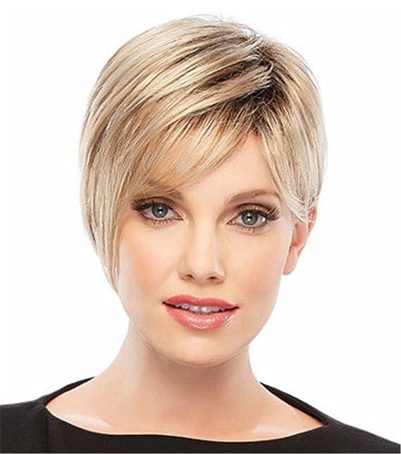 Pixie Cut peluca sintética súper peluca de pelo corto para las mujeres mezcladas Rubio 0101
