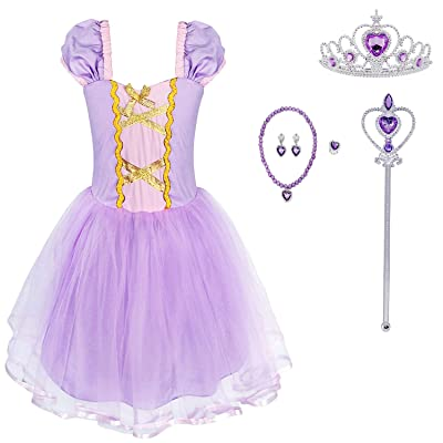 HenzWorld Little Girls Princess Costume Tutu Dress Birthday Party Cosplay Outfits Purple Accessories 1-8 Years: Clothing
