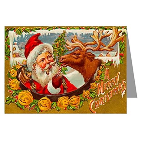 Amazon classic vintage christmas card showing santa rudolph classic vintage christmas card showing santa rudolph and sleigh bells victorian holiday greeting cards m4hsunfo