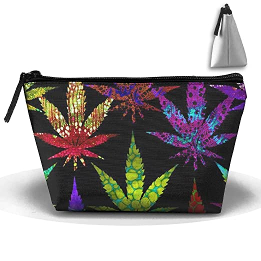 Cannabis Leaves Plants Casual Trapezoid Cosmetic Pouch Graphic Accessory Bag For Women