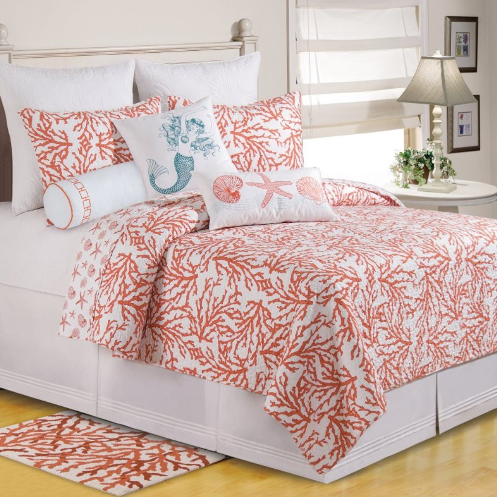 Amazon.com: C&F Home Cora Full/Queen Quilt - Coastal Theme: Home ... : coral quilt queen - Adamdwight.com