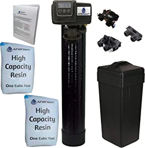 Whole House Water Softener System - Fleck 5600sxt Digital Meter with 64,000 Grain - includes bypass valve & brine tank with safety float