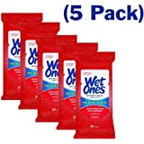Wet Ones Wipes for Hands & Face, 20 Count Travel Pack (Pack of 5) 100 Wipes Total (Anti Bacterial)